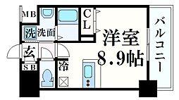 阪急神戸本線 春日野道駅 徒歩5分の賃貸マンション 1階ワンルームの間取り