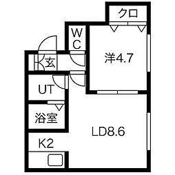 ラフレーズN34West[3階]の間取り
