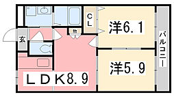兵庫県姫路市飾磨区阿成植木の賃貸アパートの間取り