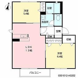 福岡県北九州市八幡西区茶屋の原2の賃貸アパートの間取り