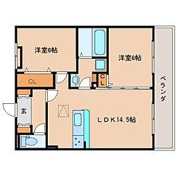 奈良県生駒郡斑鳩町興留7丁目の賃貸アパートの間取り