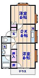 コスモ田久保[B102号室]の間取り