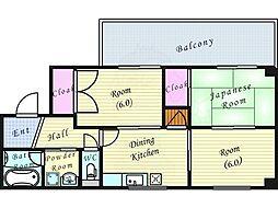 Osaka Metro谷町線 南森町駅 徒歩9分の賃貸マンション 3階3DKの間取り