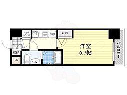 アドバンス新大阪ラシュレ 10階1Kの間取り
