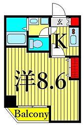 つくばエクスプレス 浅草駅 徒歩10分の賃貸マンション 5階1Kの間取り