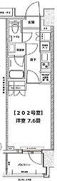 東京メトロ半蔵門線 清澄白河駅 徒歩2分の賃貸マンション 2階1Kの間取り