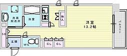 セイル江坂公園 9階ワンルームの間取り