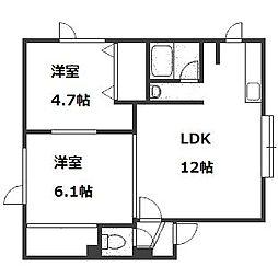 北海道札幌市中央区南十条西17丁目の賃貸アパートの間取り