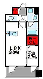 JR鹿児島本線 千早駅 徒歩4分の賃貸マンション 15階1LDKの間取り