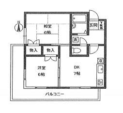 神奈川県大和市南林間5丁目の賃貸マンションの間取り