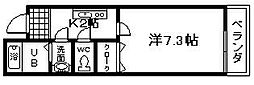 大阪府岸和田市上野町東の賃貸アパートの間取り