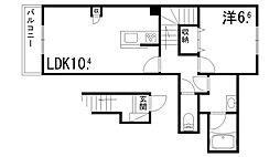(仮称)シャーメゾン辻井 2階1LDKの間取り