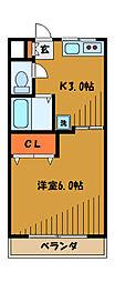 東京都国分寺市東元町の賃貸マンションの間取り