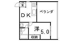 プラーフ東須磨[4階]の間取り