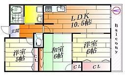 ヒルサイドテラス千里丘[5階]の間取り