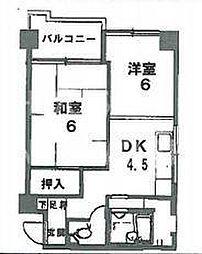 京都府京都市左京区新先斗町の賃貸マンションの間取り