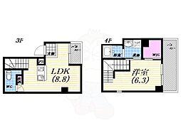 阪急今津線 今津駅 徒歩1分の賃貸マンション 3階1LDKの間取り