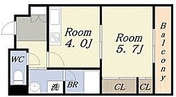 ラミューズコート[4階]の間取り