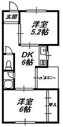 大阪府大阪市東住吉区針中野2丁目の賃貸マンションの間取り
