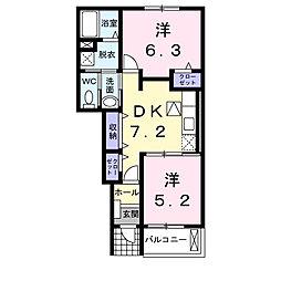 静岡県浜松市東区大島町の賃貸アパートの間取り