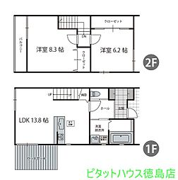 [一戸建] 徳島県徳島市大原町 の賃貸【/】の間取り