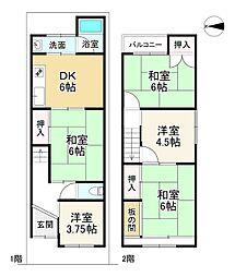 JR山陰本線 梅小路京都西駅 徒歩6分 4DKの間取り