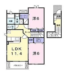 兵庫県加東市新町の賃貸アパートの間取り