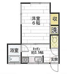 深田台コーポ[201号室]の間取り