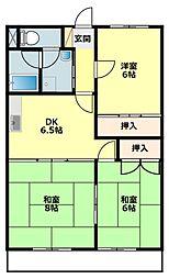 愛知県岡崎市稲熊町字6丁目の賃貸マンションの間取り