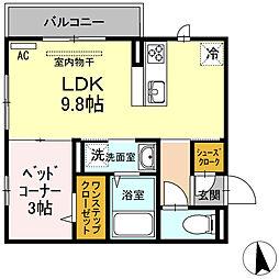徳島県徳島市南佐古七番町の賃貸アパートの間取り