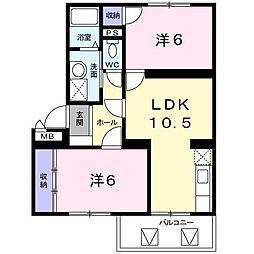 ロジュマン本城[2階]の間取り