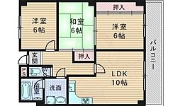 阪急千里線 山田駅 徒歩12分の賃貸マンション 4階3LDKの間取り