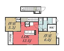 千葉県四街道市吉岡の賃貸アパートの間取り