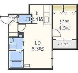 仮)北14東1マンション[3階]の間取り