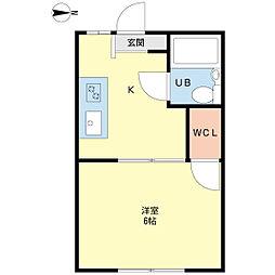 新潟県新潟市中央区上大川前通1番町の賃貸アパートの間取り