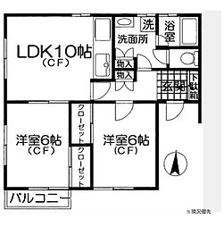 神奈川県横浜市都筑区北山田2丁目の賃貸アパートの間取り