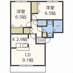 北海道札幌市白石区北郷一条9丁目の賃貸マンションの間取り