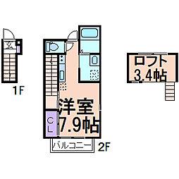 RiverainIII(リバレインIII) 2階ワンルームの間取り