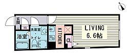 ブランシェ荻窪II 2階ワンルームの間取り