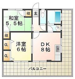 兵庫県神戸市垂水区霞ケ丘3丁目の賃貸マンションの間取り