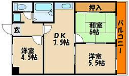 シャトー第一土山[2階]の間取り