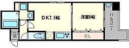NOVA四ツ橋3番館 4階1DKの間取り