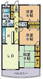 シンフォニィ西新[3階]の間取り