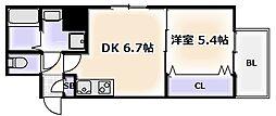 Osaka Metro千日前線 日本橋駅 徒歩2分の賃貸マンション 4階1DKの間取り