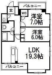 北海道札幌市中央区北二条東2丁目の賃貸マンションの間取り