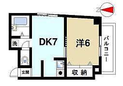 奈良県生駒市谷田町の賃貸マンションの間取り