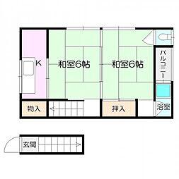 辰巳荘[南2号室]の間取り