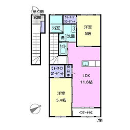 (仮称)寿豊丘Mアパート 2階2LDKの間取り