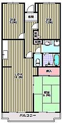 大阪府富田林市甲田6丁目の賃貸マンションの間取り
