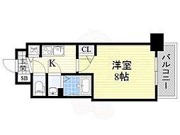 ディームス江坂 10階1Kの間取り